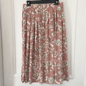 Vintage Blush Pink Floral Pleated Full Midi Skirt